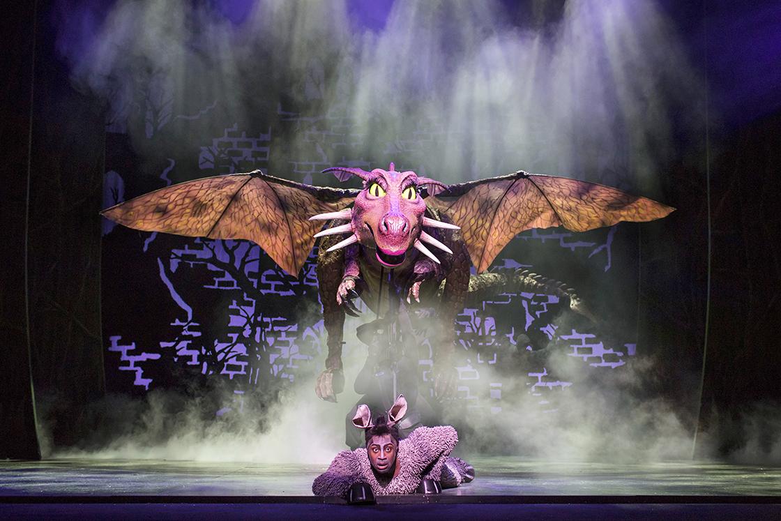 Marcus-Ayton-as-Donkey.-Shrek-the-Musical.-Credit-Helen-Maybanks